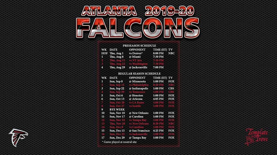Atlanta Falcons 2020 Schedule.2019 2020 Atlanta Falcons Wallpaper Schedule