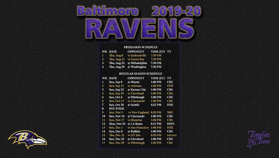 Ravens 2020 Schedule.2019 2020 Baltimore Ravens Wallpaper Schedule
