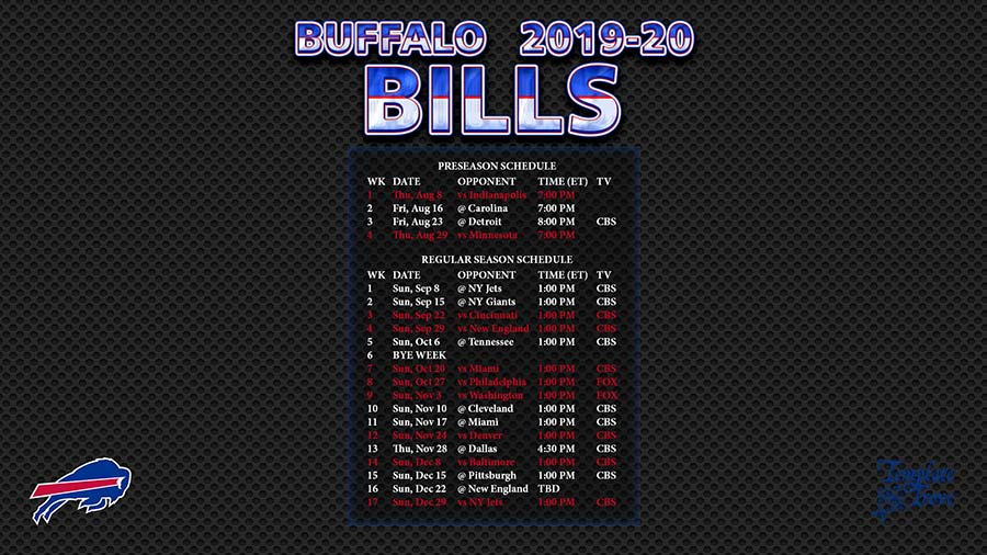Buffalo Bills Schedule 2020.2019 2020 Buffalo Bills Wallpaper Schedule