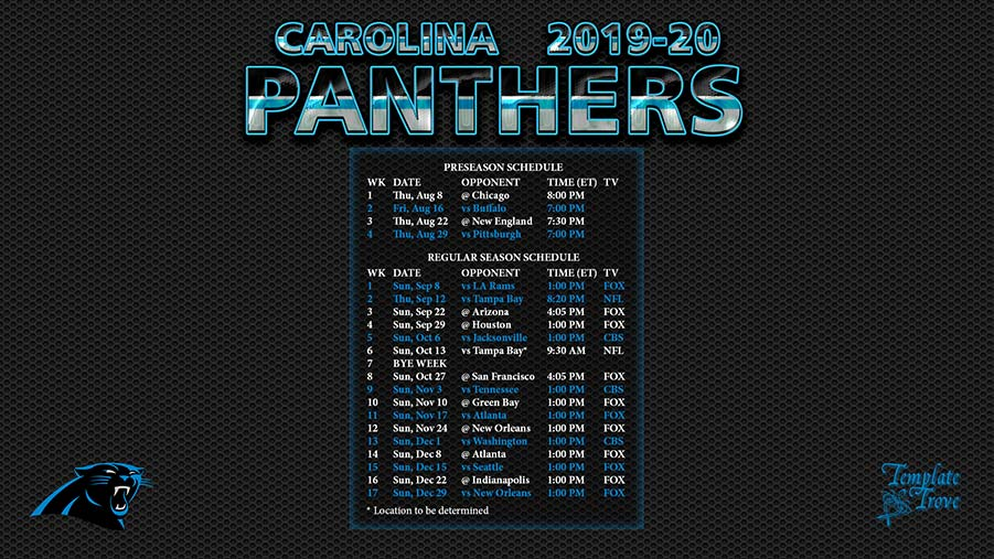 Carolina Panthers Schedule 2020.2019 2020 Carolina Panthers Wallpaper Schedule