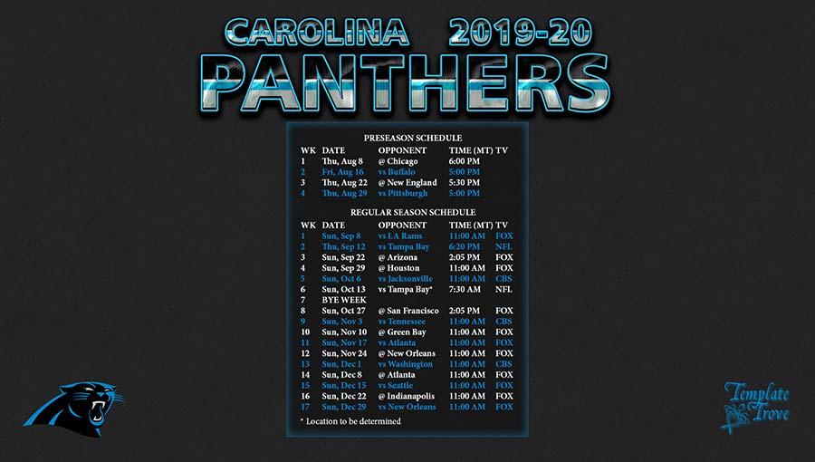 2019-2020 Carolina Panthers Wallpaper Schedule