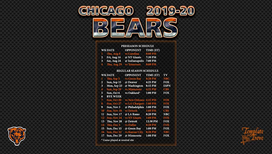 Chicago Bears Schedule 2019-20 2019 2020 Chicago Bears Wallpaper Schedule