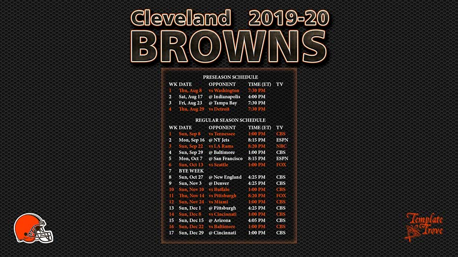 photo regarding Cleveland Browns Printable Schedule identified as 2019-2020 Cleveland Browns Wallpaper Program