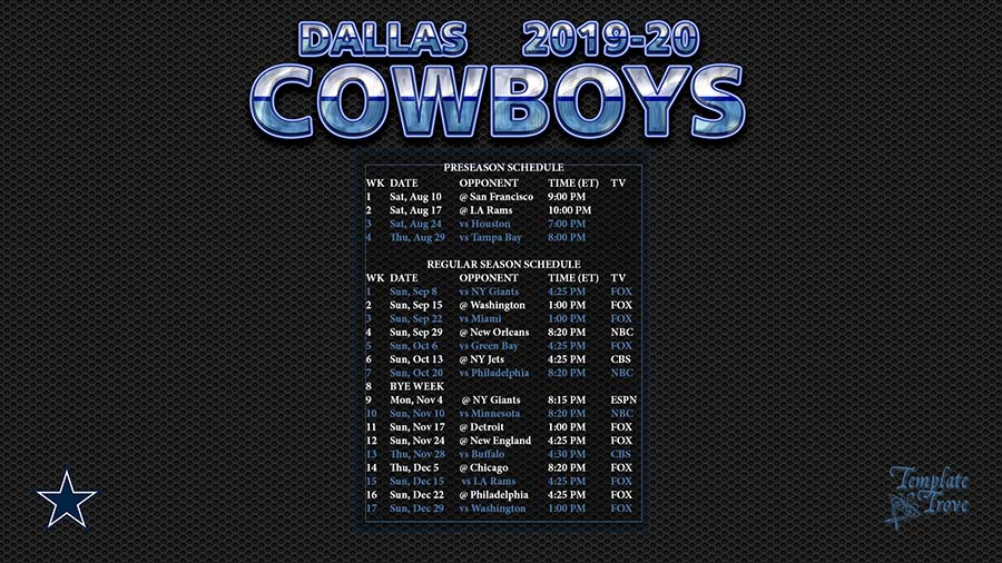 graphic relating to Dallas Cowboys Printable Schedule referred to as 2019-2020 Dallas Cowboys Wallpaper Plan