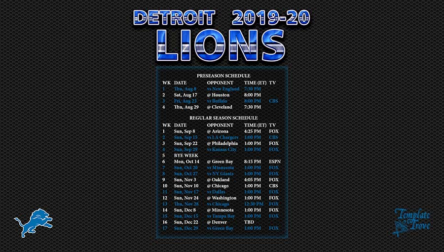 Lions Schedule 2020.2019 2020 Detroit Lions Wallpaper Schedule