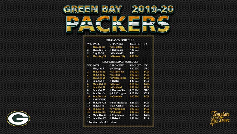 image about Printable Packer Schedule referred to as 2019-2020 Inexperienced Bay Packers Wallpaper Program