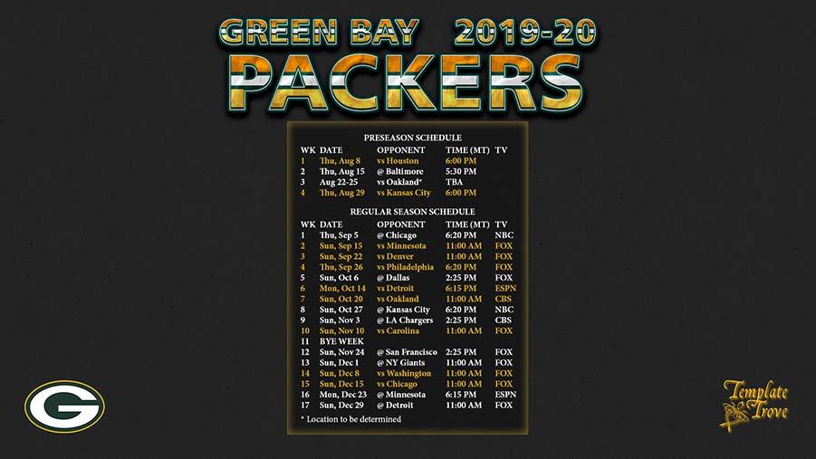 2019-2020 Green Bay Packers Wallpaper Schedule
