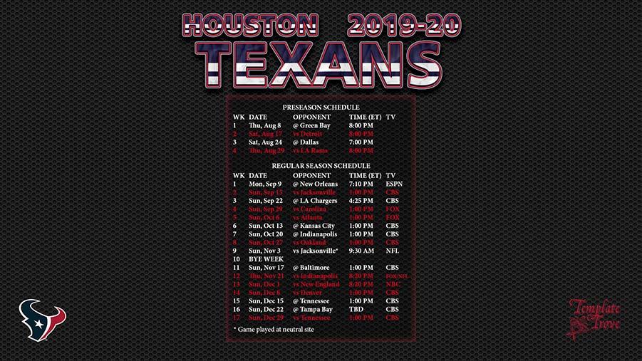 2019-2020 Houston Texans Wallpaper Schedule