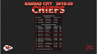 Kansas City Chiefs 2019-20 Wallpaper Schedule
