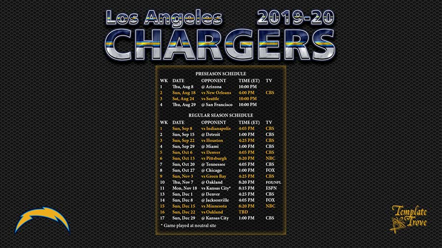 Chargers Preseason Schedule 2020 2019 2020 Los Angeles Chargers Wallpaper Schedule