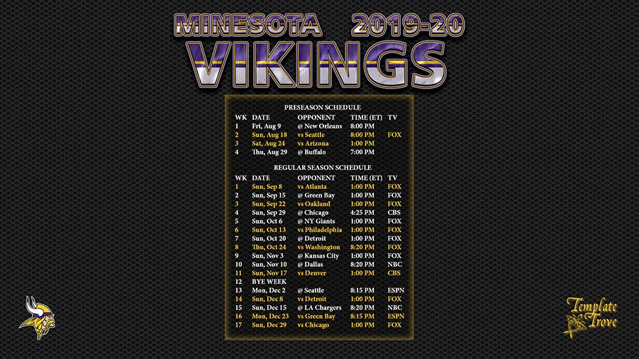 Vikings 2020 Schedule.2019 2020 Minnesota Vikings Wallpaper Schedule