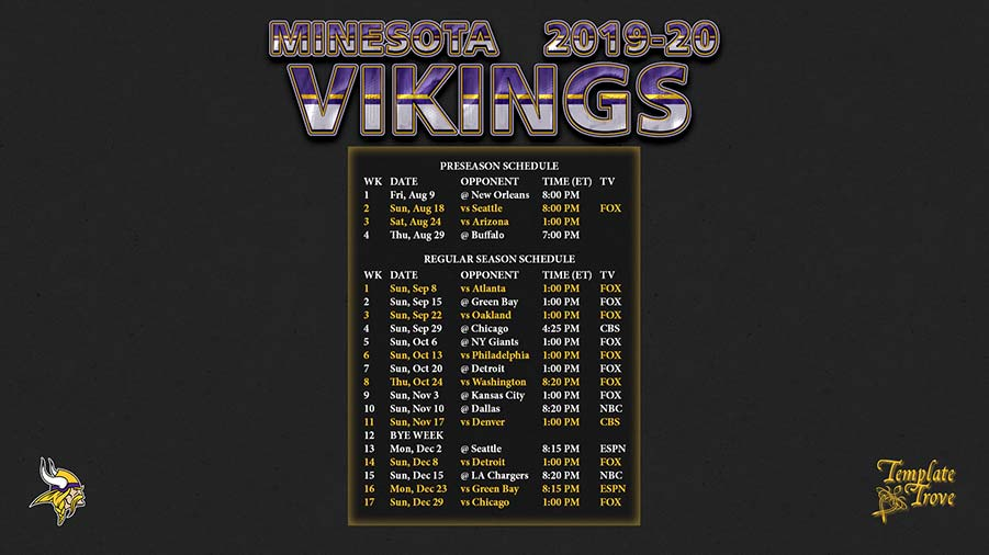 Ridiculous image intended for minnesota vikings printable schedule