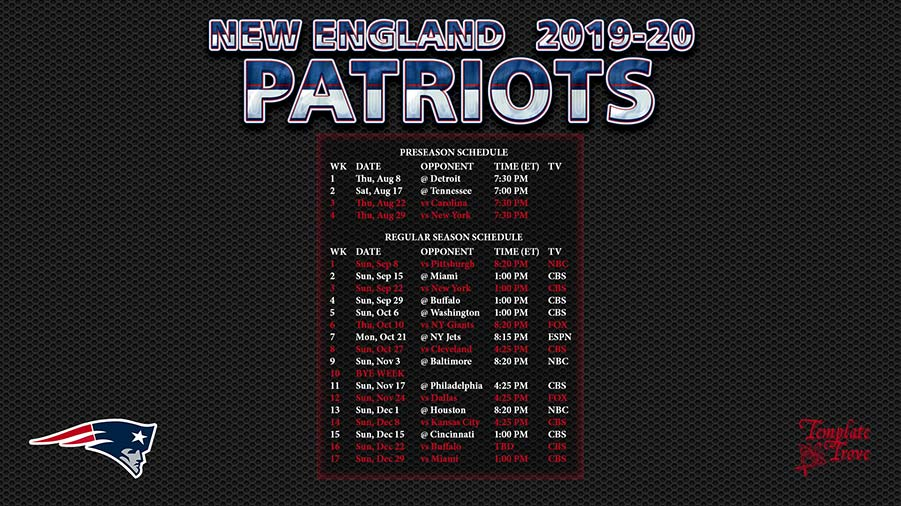 image relating to New England Patriots Printable Schedule titled 2019-2020 Fresh new England Patriots Wallpaper Program