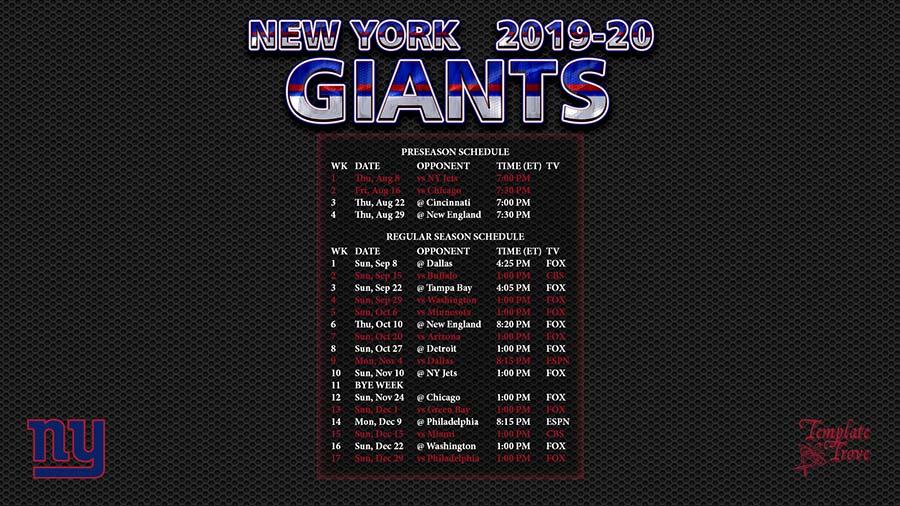 Giants Schedule 2020.2019 2020 New York Giants Wallpaper Schedule