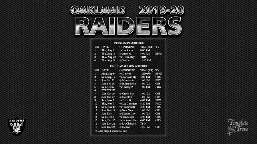 Raiders Schedule 2020.2019 2020 Oakland Raiders Wallpaper Schedule