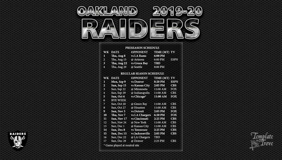 Unforgettable image inside raiders printable schedule