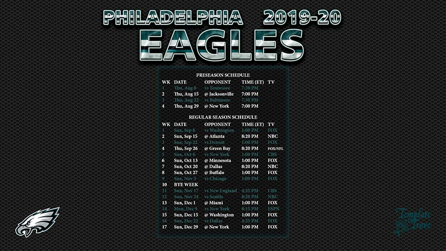 philadelphia eagles 2020 schedule