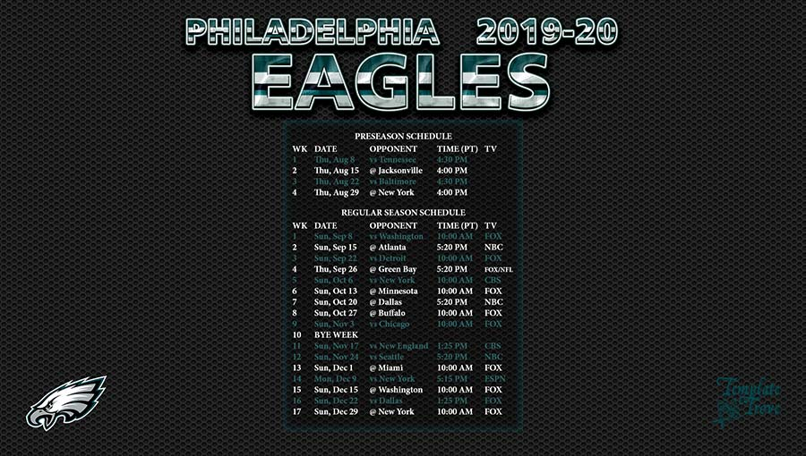 Unforgettable image inside printable eagles schedule