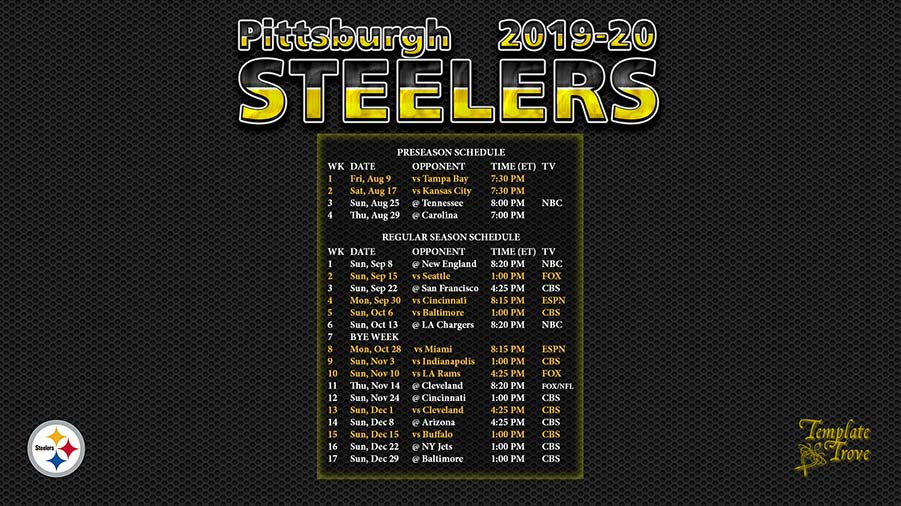 graphic regarding Printable Steelers Schedule titled 2019-2020 Pittsburgh Steelers Wallpaper Routine