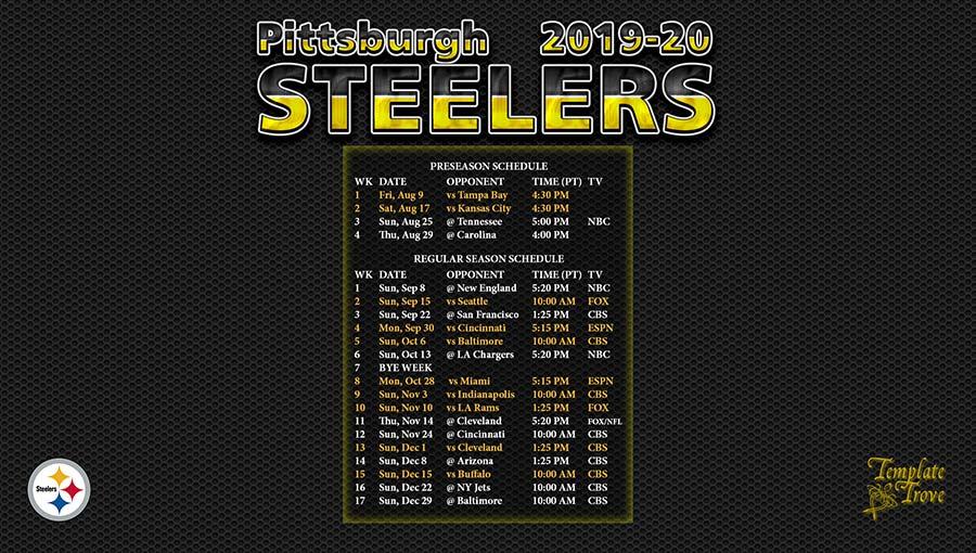 2019-2020 Pittsburgh Steelers Wallpaper ScheduleSteelers Schedule