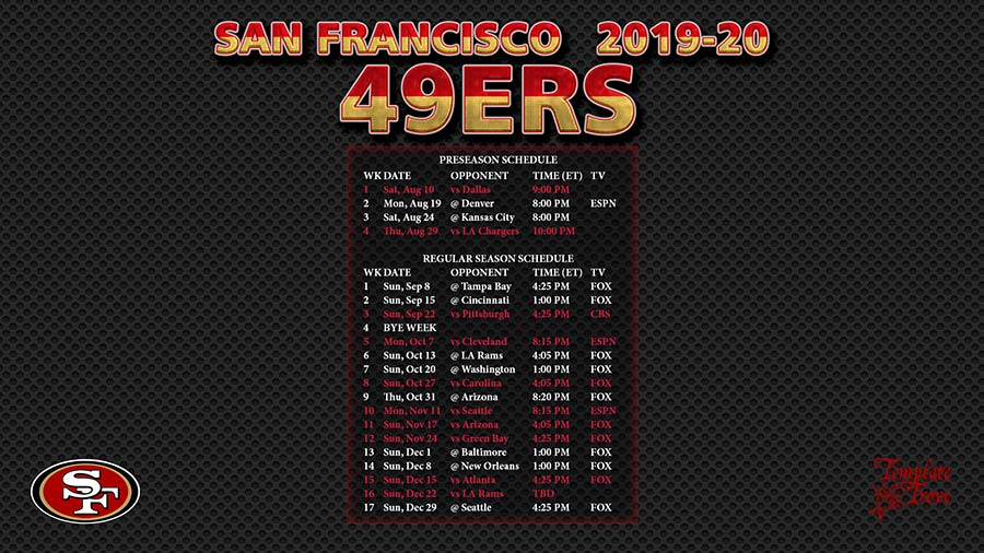49ers Home Schedule 2020.2019 2020 San Francisco 49ers Wallpaper Schedule