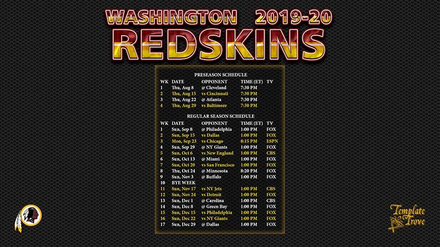 2020 Washington Redskins Schedule 2019 2020 Washington Redskins Wallpaper Schedule
