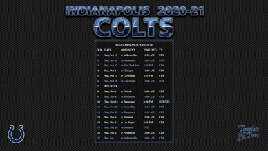 Indianapolis Colts 2020-21 Wallpaper Schedule