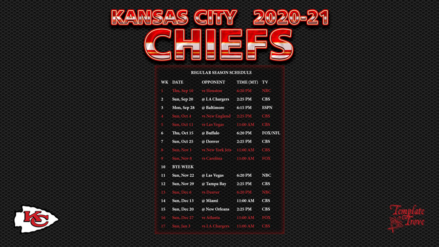 2020 2021 Kansas City Chiefs Wallpaper Schedule