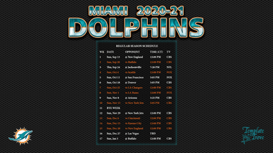 Miami Dolphins 2020-21 Wallpaper Schedule