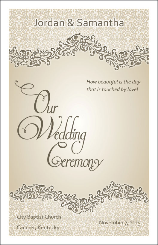 wedding program cover template 4a