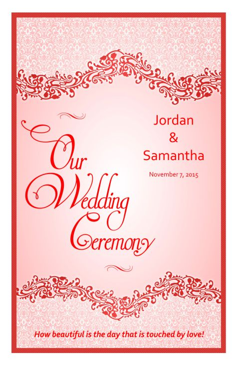 wedding program cover template 4f