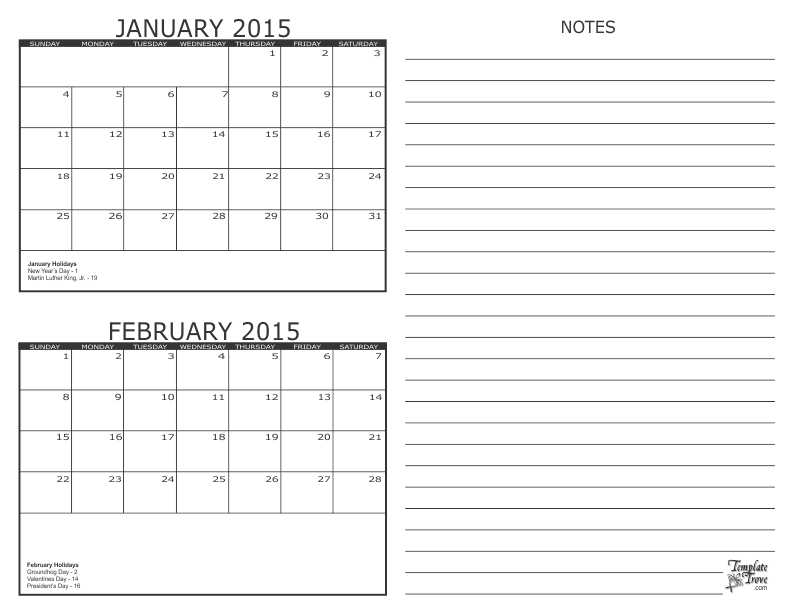 2017 2 Month Calendars
