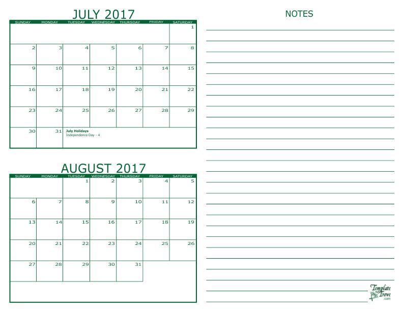 2 Month Calendar - 2017
