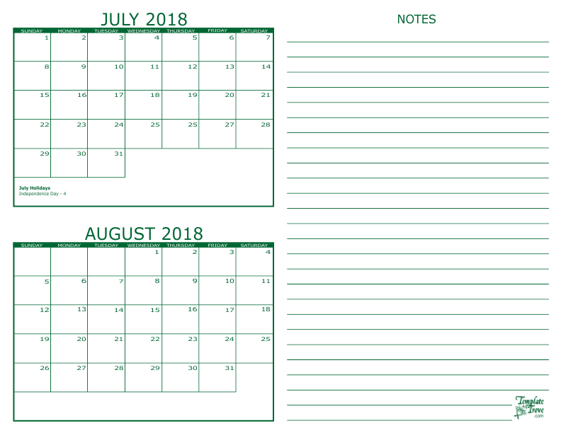 july and august 2018 2 month calendar