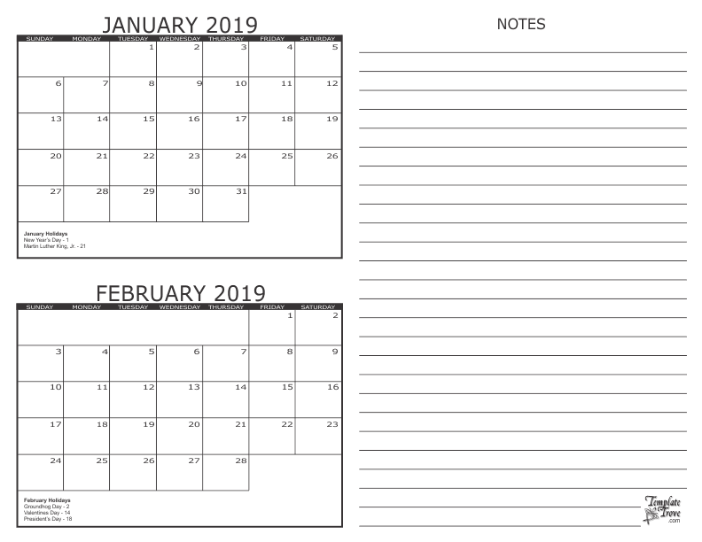2 Month Per Page Full Size Calendar Printable 2017 Worksheet