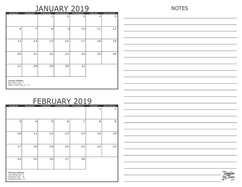 Printable Calendar 2019 January February 2 Month Calendar   2019