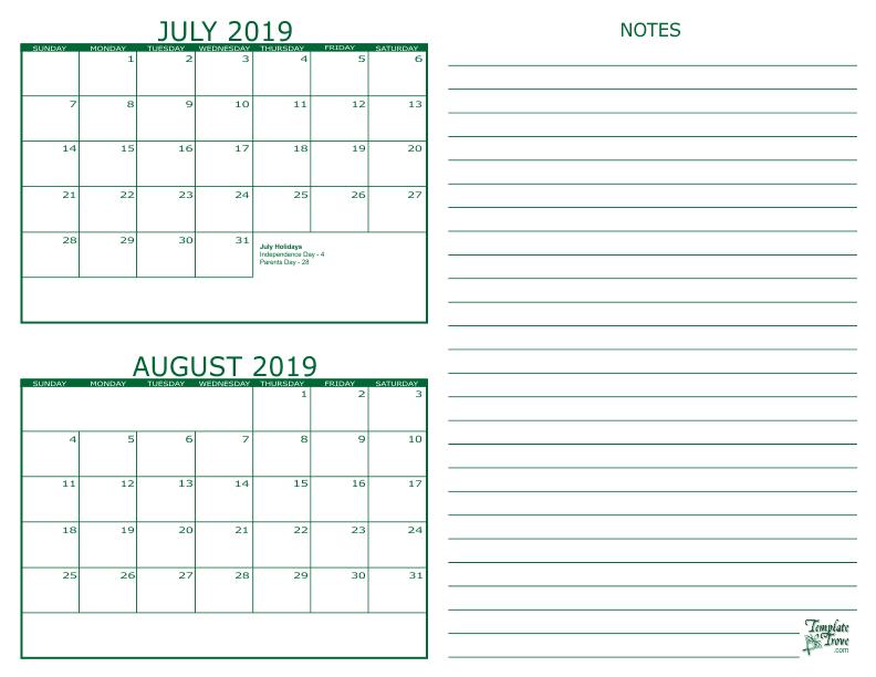 calendar for july and august 2019 - Hizir kaptanband co
