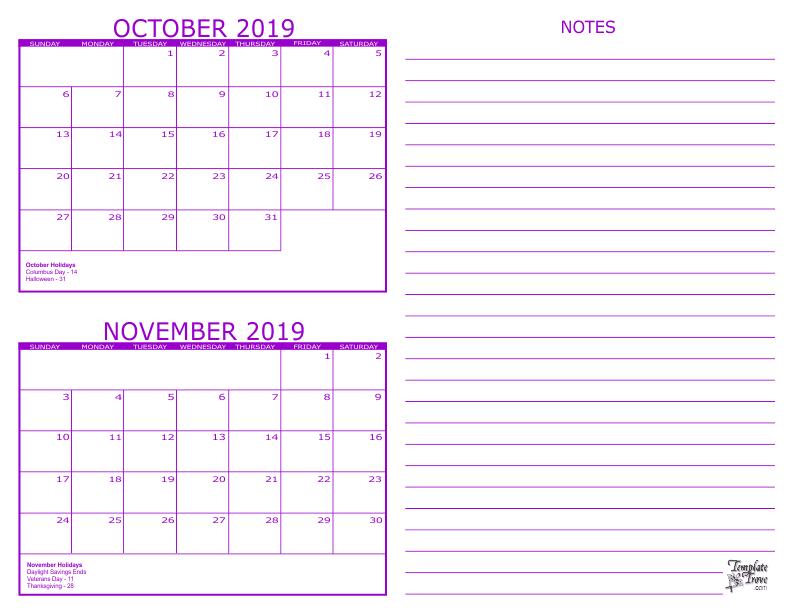 2 Month Calendar - 2019