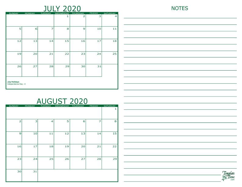 2 Month Calendar - 2020