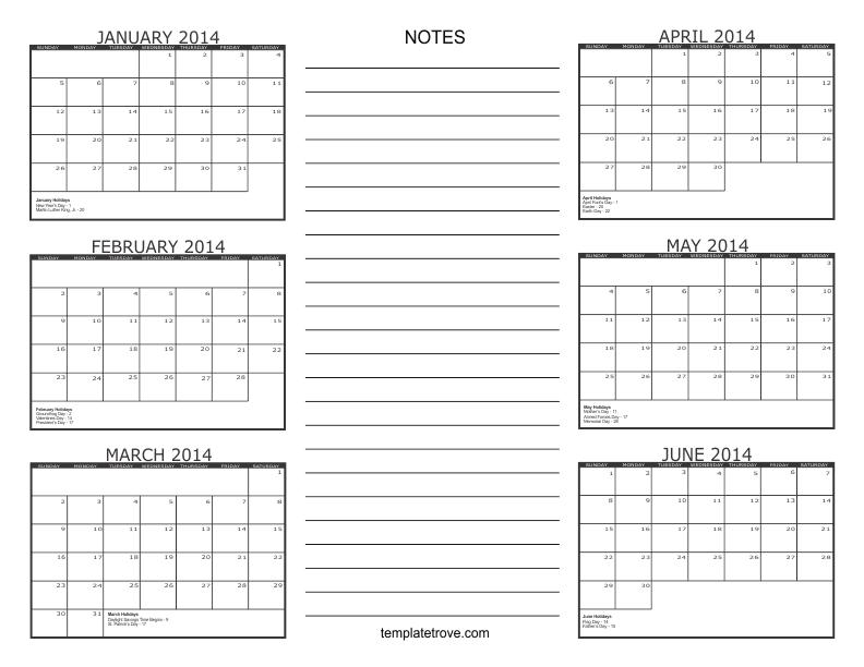 2 month calendar template 2014 - 6 month calendar 2014