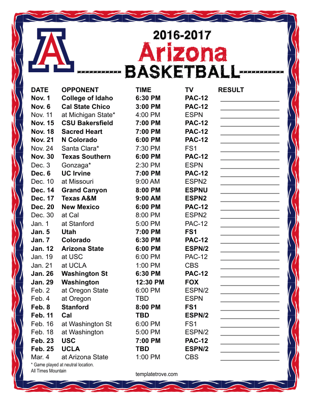 photograph relating to Bruins Schedule Printable known as Printable 2016-2017 UCLA Bruins Basketball Routine
