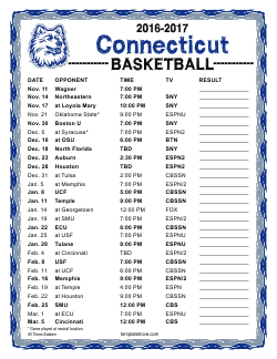 Printable 2016-2017 UConn Huskies Schedule
