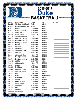 Printable 2016-17 Duke Blue Devils Basketball Schedule