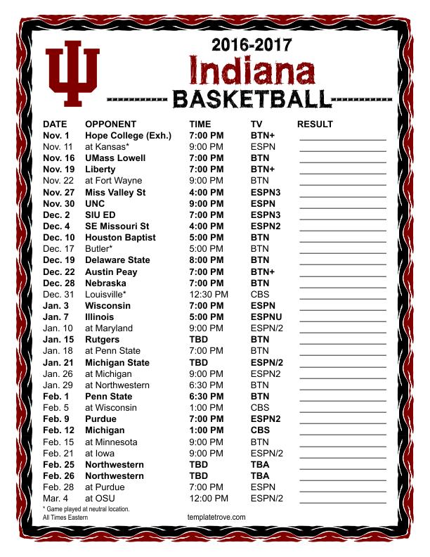 Printable 2016 2017 Hoosiers Basketball Schedule