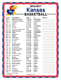 graphic relating to Ku Basketball Schedule Printable named 2016-2017 University Basketball Schedules