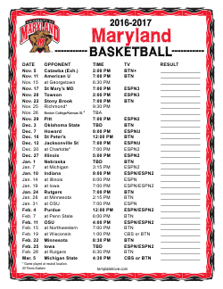 Printable 2016-17 Maryland Terrapins Basketball Schedule