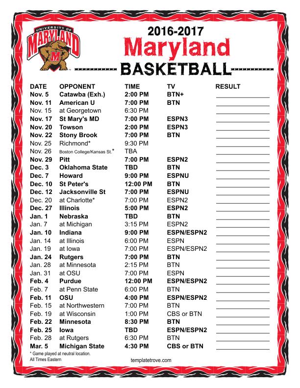 Printable 2016-2017 Maryland Terrapins Basketball Schedule