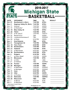 Printable 2016 2017 Michigan State Spartans Basketball Schedule