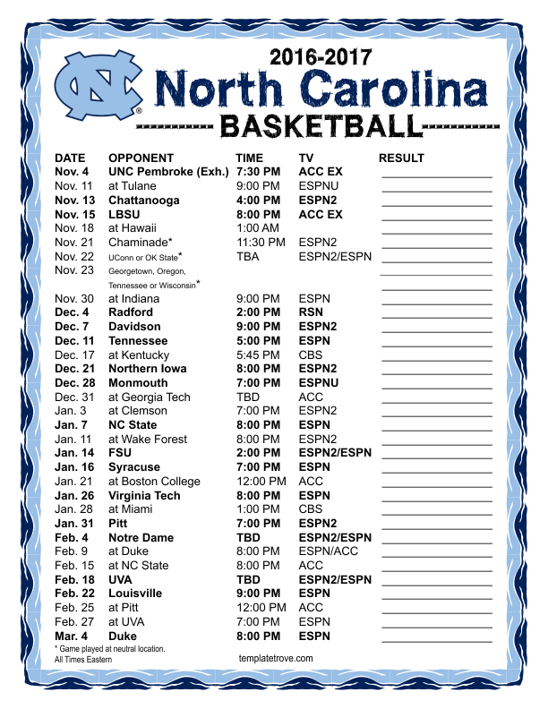 photo relating to Unc Basketball Schedule Printable identified as Printable 2016-2017 North Carolina Tar Heels Basketball Timetable