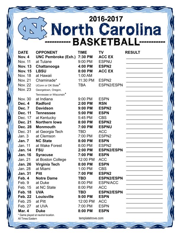 Printable 2016 2017 North Carolina Tar Heels Basketball Schedule